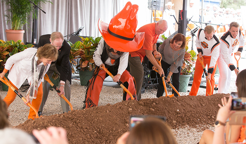 burns hargis and donors celebrate groundbreaking of Greenwood School of Music