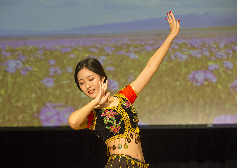 A girl dancing in a cultural event at OSU