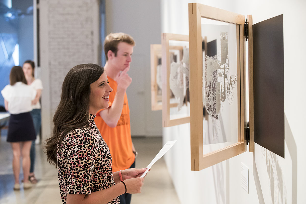 students viewing artwork