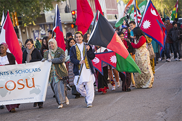 international students in a parade