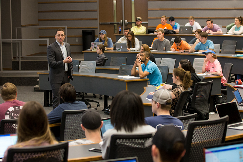 Professor teaching a class of students