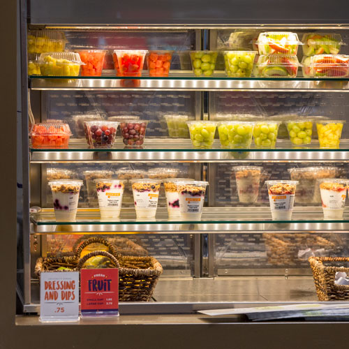 Healthy Dining Options, to-go fruit and yogurt cups
