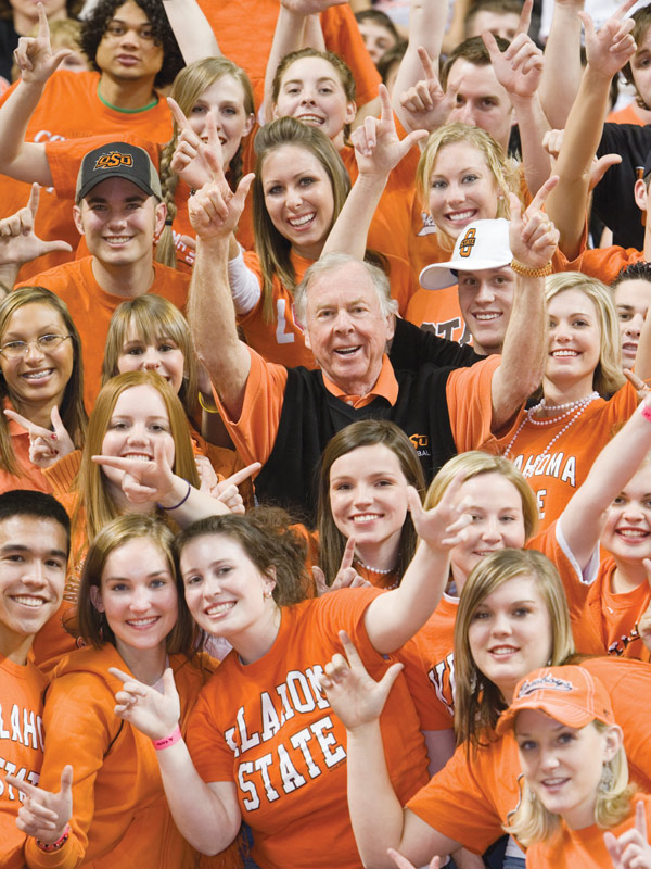 Pistols firing, Boone Pickens among students