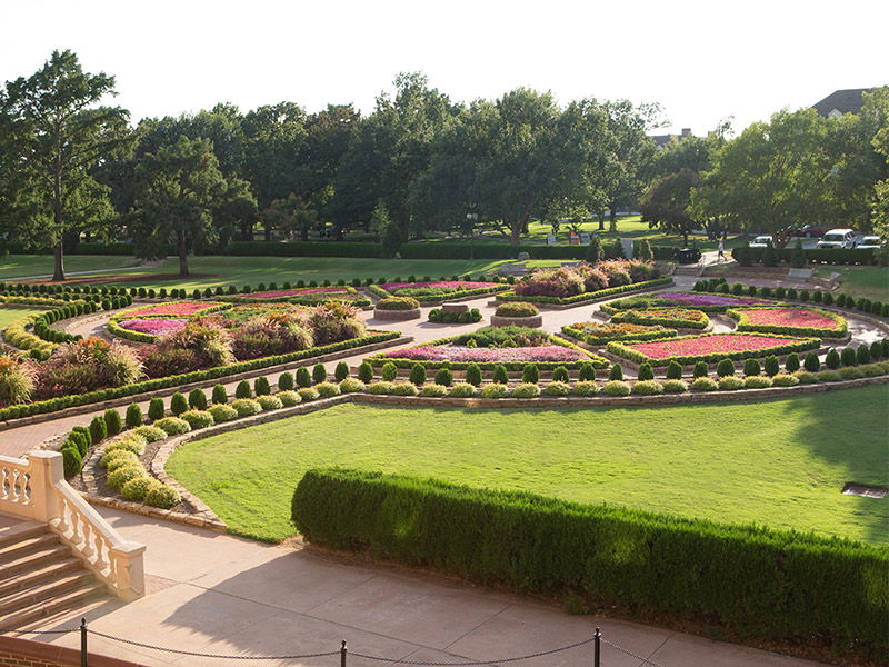 formal gardens outside of Student Union