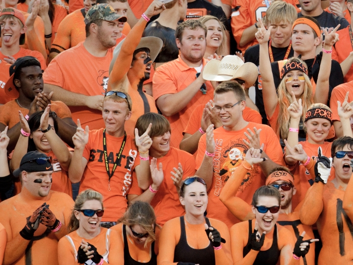 Students at an OSU football game
