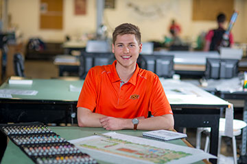 Landscape architecture major Jacob Krafft in classroom setting