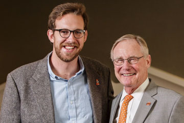 Andy Blye, Marketing major, with President Burns Hargis